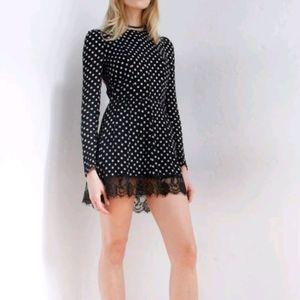 Gorgeous Reformation Dot Dress w/ Lace Hem XS